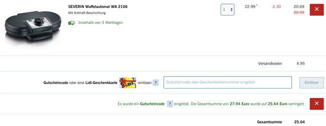 Lidl Warenkorb Severin WA 2106 Waffelautomat für 25,64€