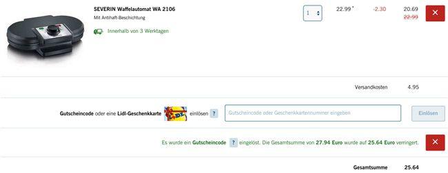 Severin WA 2106 Waffelautomat für 25,64€