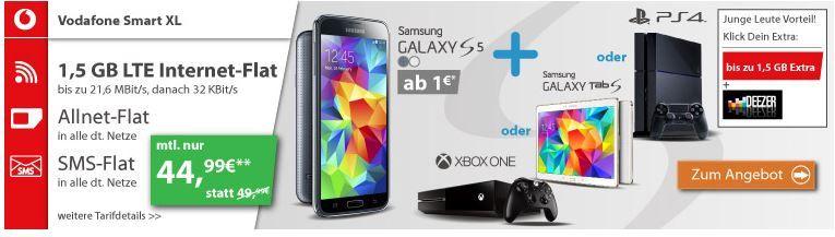Samsung Galaxy S5 + Konsole oder Tab mit Vodafone Smart XL (AllNet Flat + 1,5 GB Daten) für 44,99€/mtl.