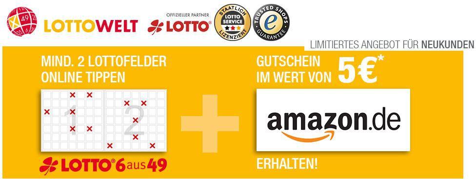 Lottowelt mit 5€ Amazon Gutschein für Neukunden: beim tippen von 2 Feldern bei 6aus49   Top Tippen mit Gewinn   Update!!