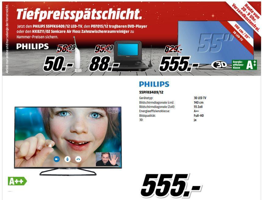 Media Markt Tiefpreis Philips 55PFK6409 55 Zoll FullHD 3D Smart TV für 555€ in der MediaMarkt Tiefpreisspätschicht