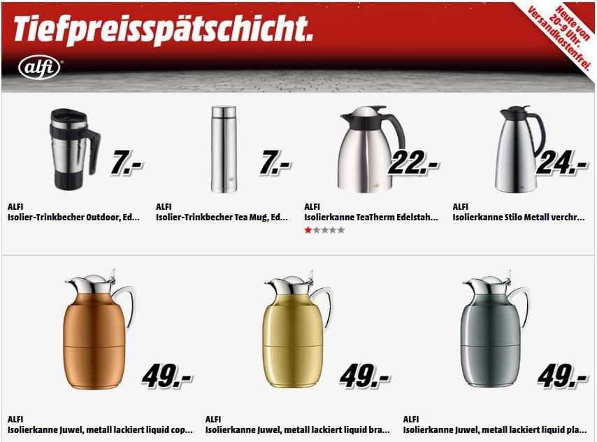 Media Tiefpreis schicht Alfi Isolierkannen und Becher ab 7€ in der MediaMarkt Tiefpreisspätschicht