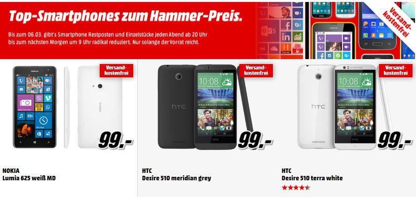 MediaMarkt Smartphones HTC One (M8) glacial silver für 349€ in der Media Markt Restposten Aktion