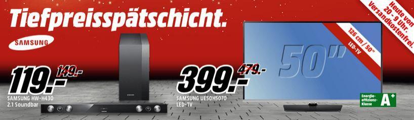 MediaMarkt TV Angebote1 Samsung UE50H5070 – 50 Zoll TV für 399€ in der MediaMarkt Tiefpreisspätschicht