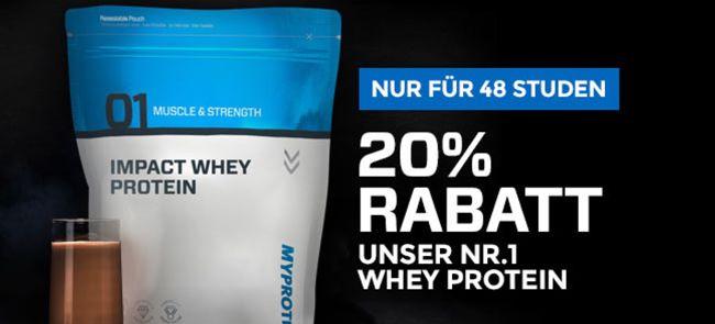 20% Rabatt auf Impact Whey bei Myprotein für 48 Stunden