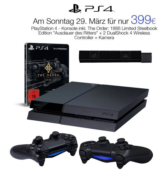 PS41 PlayStation 4   Konsole + The Order: 1886 Limited Steelbook Edition Ausdauer des Ritters + 2 DualShock 4 Wireless Controller + Kamera für nur 399€   Update
