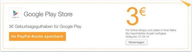 Kostenlos! 3€ Guthaben für den Google Play Store   Update!
