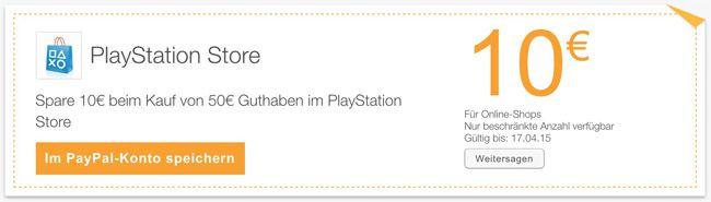 Playstore Gutschein 50€ Playstation Store Guthaben für 40€ dank Paypal Aktion