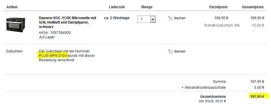 Plus Daewoo KOC 1C0K   profi Mikrowelle mit Grill, Heißluft, Dampfgarer statt 303€ für nur 187,95€