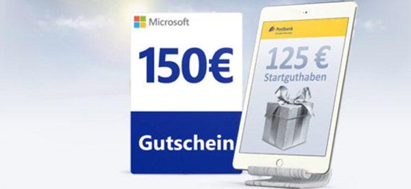 125€ Startguthaben oder 150€ Microsoft Gutschein geschenkt für kostenloses Postbank Girokonto – kein Gehaltsnachweis nötig!