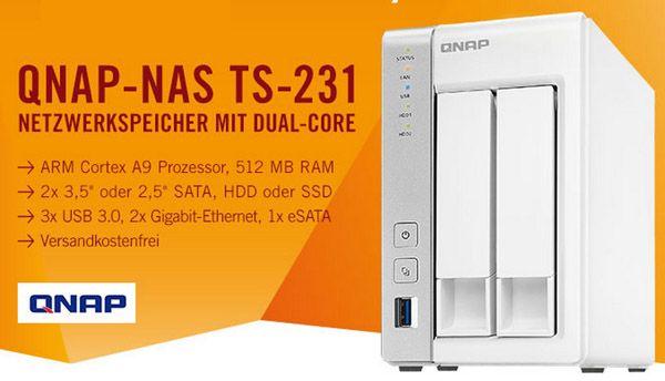 QNAP TS 231 NAS System QNAP TS 231 NAS System ohne Festplatten für 159€
