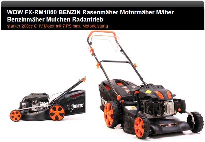 Rasenmäher FUXTEC FX RM1860   7PS Benzin Rasenmäher mit Radantrieb und Mulchfunktion für 249€