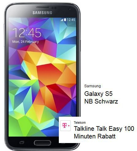 Samsung Galaxy S5 + Telekom Talkline Easy Vertrag (100Min, SMS Flat + 250MB Daten) für effektiv 16,19€ monatl.