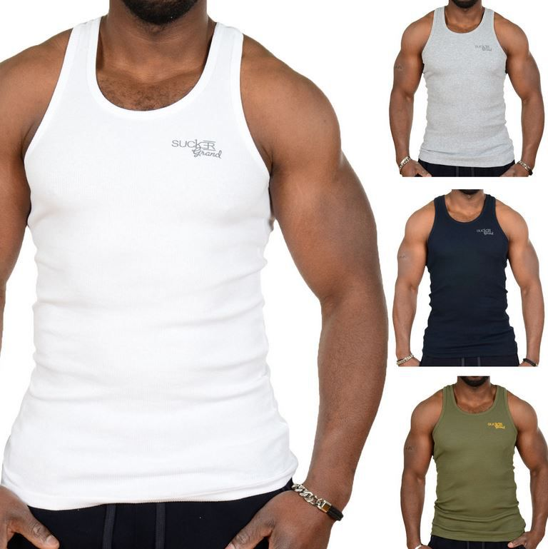 Sucker Grand Feinrip Sucker Grand   3er Pack Herren Tanktop Feinripp für 12,90€
