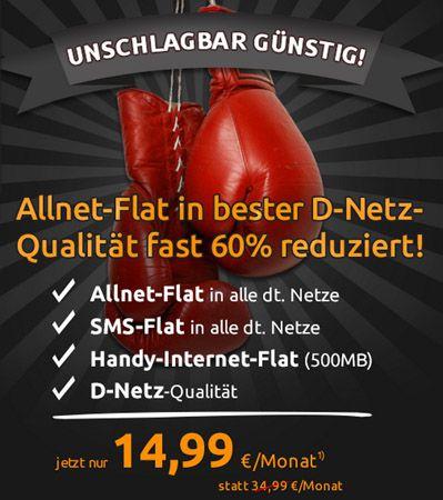 TOP! Allnet Flat, SMS Flat und 500MB im Telekom Netz für 14,99€ monatlich