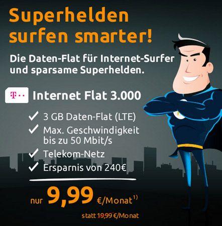 Telekom LTE Internet Flat Knaller! Telekom LTE Internet Flat 3GB mit max. 50 Mbit/s für 9,99€ monatlich   Update