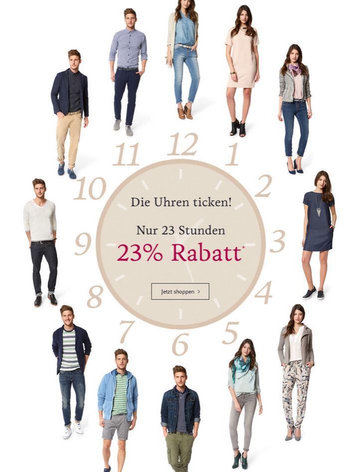 Tom Tailor mit 23% Rabatt auf ausgewählte Kleidung   nur bis Mitternacht.