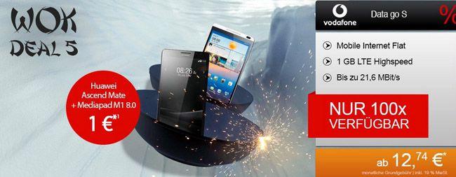 Knaller! Vodafone Data Go S mit 1GB LTE ab 12,78€ pro Monat + Huawei Ascend Mate und Huawei MediaPad M1 8.0 16GB 3G