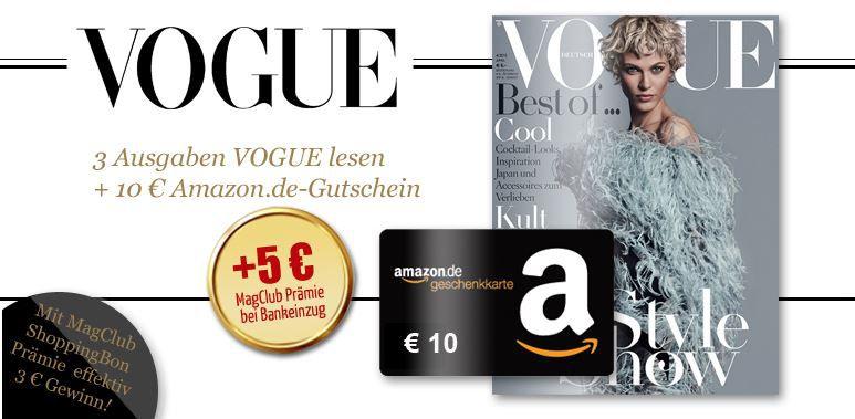 Vogue Vogue mini Abo   3 Ausgaben mit effektiv 3€ Gewinn