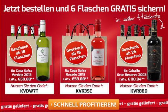 Weinvorteil   dank Late Night Shopping 6 Flaschen Gratis beim Kauf von 18 Flaschen