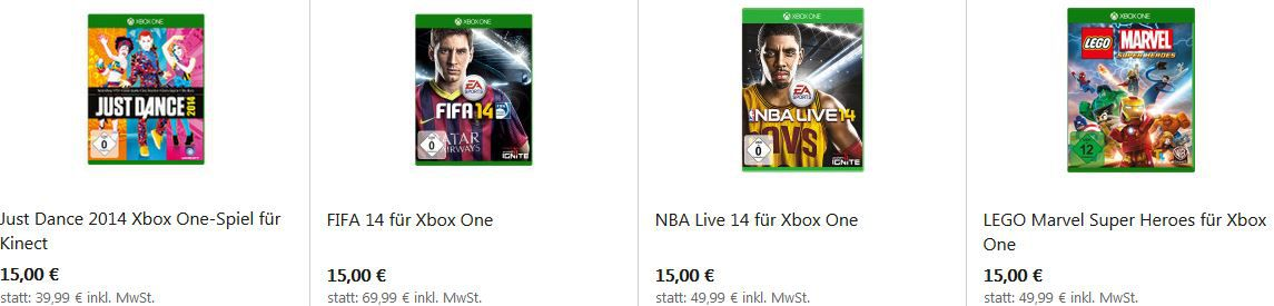 Microsoft Store mit Xbox One Flash Sale   3 Spiele für 45€ z.B. FIFA14, Killer Instinct, Need for Speed: Rivals