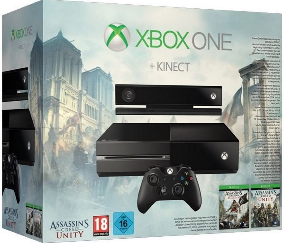 Xbox one Kinect Xbox One Konsole + Kinect inkl. Assassins Creed Unity und Black Flag für 359€ bei den Amazon Xbox one Angeboten
