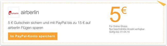 airberlin Gutschein 5€ airberlin Gutschein + bis zu weiteren 10€ Rabatt bei Zahlung via Paypal