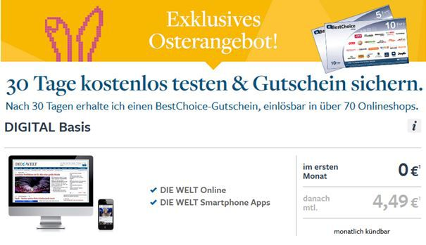 die Welt Die Welt Digital im Oster Special   dank Gutschein 8 Wochen mit 0,51€ Gewinn lesen