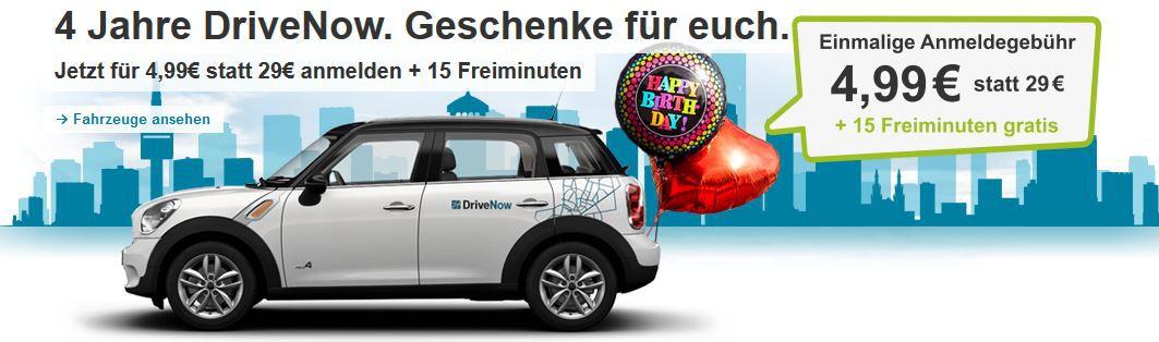 4 Jahre Drive Now: jetzt 15 Freiminuten und nur 4,99€ Anmeldegebühren statt 29€