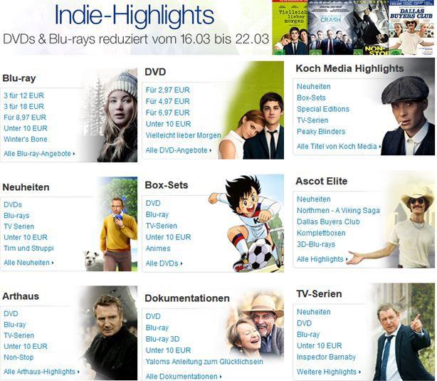 Indie Highlights reduziert und mehr Amazon DVD oder Blu ray Angebote   Update