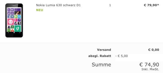 favorio Kasse Nokia Lumia 630 Single SIM für 75€   Neuware ohne Sim  oder Netlock, aber mit Telekom Branding