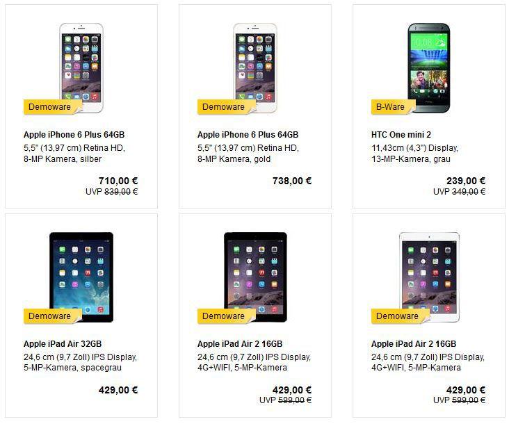 Apple iPhone 6 Plus 64GB für 681,60€ oder HTC One (M8) für 354,19€ und mehr MeinPaket B Ware Angebote!