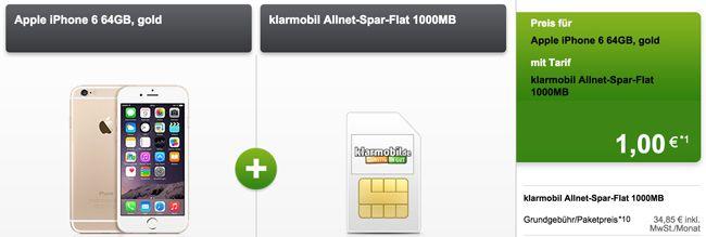 klarmobil Allnet Spar Flat klarmobil Allnet Spar Flat 1GB + iPhone 6 64GB ohne Zuzahlung für 35,72€ monatlich