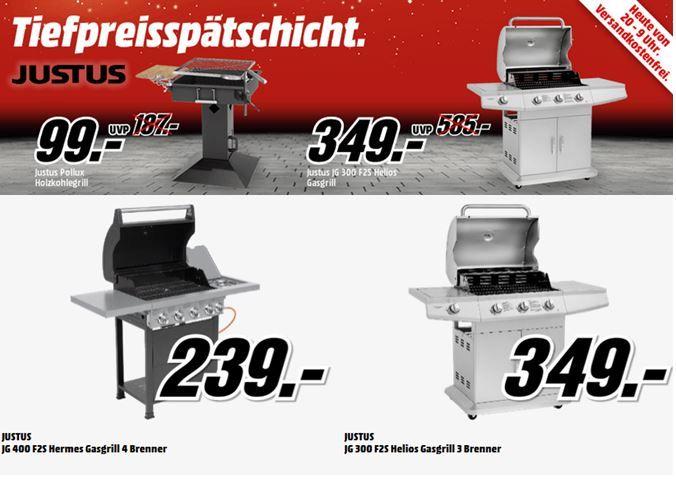 JUSTUS Säulengrill Pollux Holzkohle für 99€ in der MediaMarkt Grill Tiefpreisspätschicht