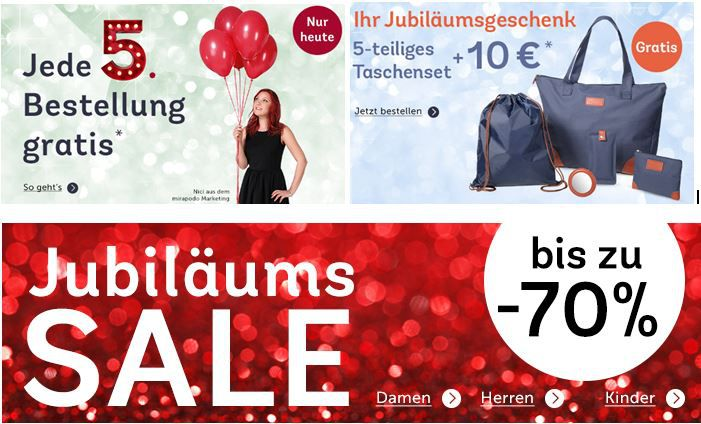 mirapodo MIRAPODO 70% Sale + 10€ Gutscheincode mit Tasche + jede 5te Bestellung Gratis   Update