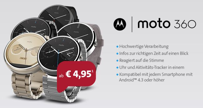 o2 Smart Surf 50 Min, 50 SMS, 1GB + Motorola Moto 360 Smartwatch ab 7,20€ monatlich