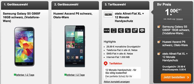 Otelo Allnet Flat XL + Samsung Galaxy S5 + Huawei Ascend P6 für + 12 Monate Handyschutz für 30€ monatlich