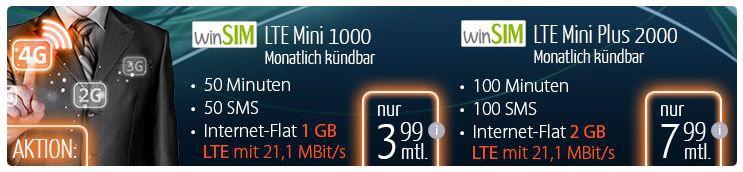 winSIM winSIM LTE Mini 1000 50Min. + 50SMS + 1GB Daten für 3,99€/mtl.   Update