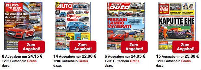 Auto und Motor Auto und Freizeit Abos mit je 20€ Gutscheinprämie   z.B. 4 Ausgaben klettern für effektiv 1,95€