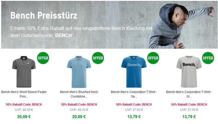 BENCH mit 50% Rabatt auf ausgewählte Kleidung @Zavvi