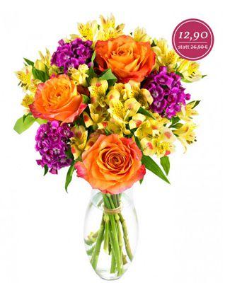 """Blumenarrangement Lucia Blumenarrangement """"Lucia"""" mit orangefarbigen Rosen für 18,80€"""