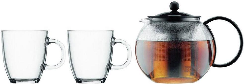 Bodum Sonderpreis Bodum Teebereiter mit Edelstahlfilter und hitzebeständigem Borosilikatglas + 2er Pack BISTRO Teetassen für 29,99€