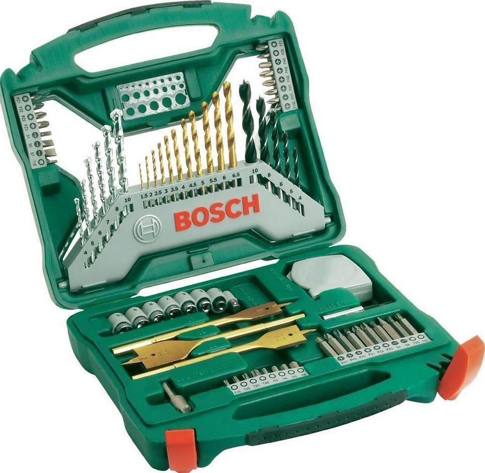 BOSCH 70 TLG. X LINE   Bohrersortiment mit Bits, 7 Steckschlüsseln und Koffer für 22,99€