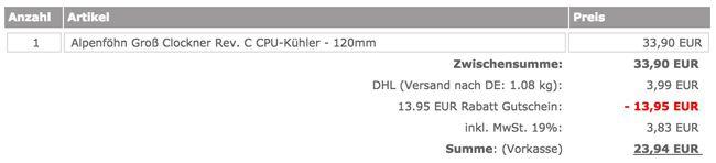 Caseking Kasse Alpenföhn Groß Clockner Rev. C CPU Kühler 120mm für 23,94€