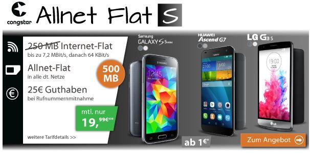 Congstar1 Congstar Telekom Allnet Flat S + 500MB Datenflat + Smartphone (Samsung S5 mini) für 19,99€ mtl.   Update