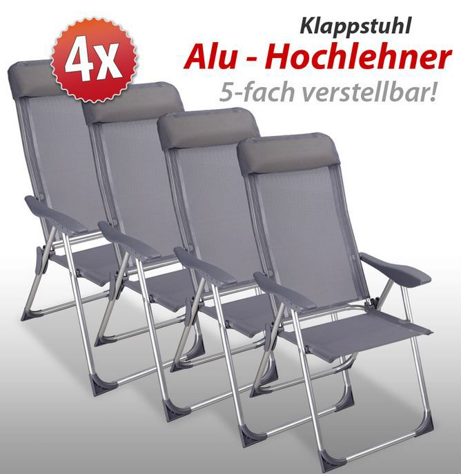 Deuber   Alu Hochlehner Gartenklappstuhl im 4er Set ab 80,10€
