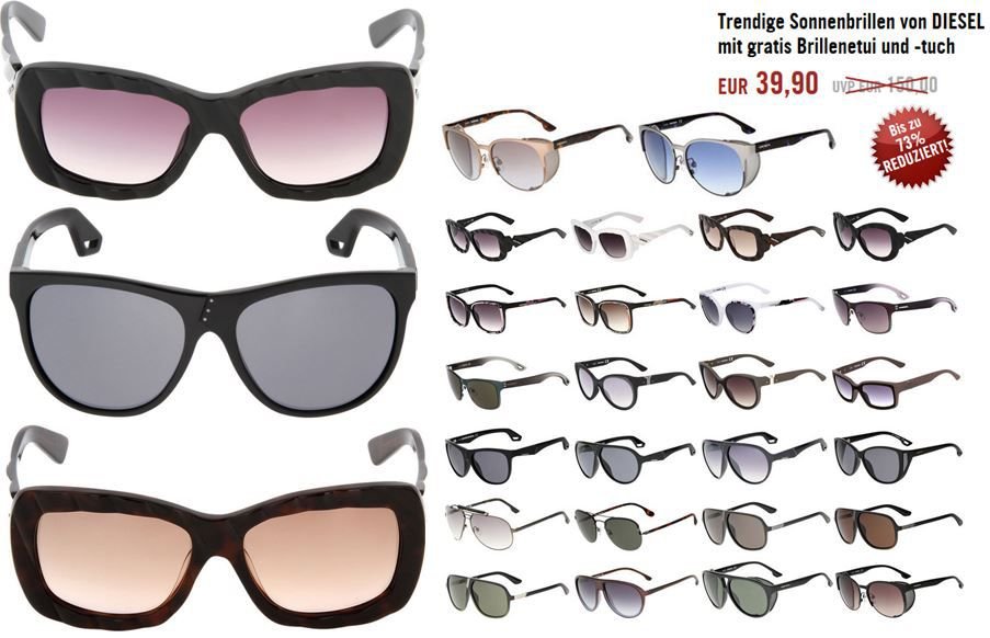 Diesel Brille DIESEL URGENT   Sonnenbrillen für Damen und Herren für je nur 39,90€
