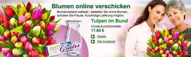 Floraprima Tulpen 20 Tulpen im Bund mit Vase & Lindt Schokolade für 21,14€   mit 30 Tulpen für 24,94€