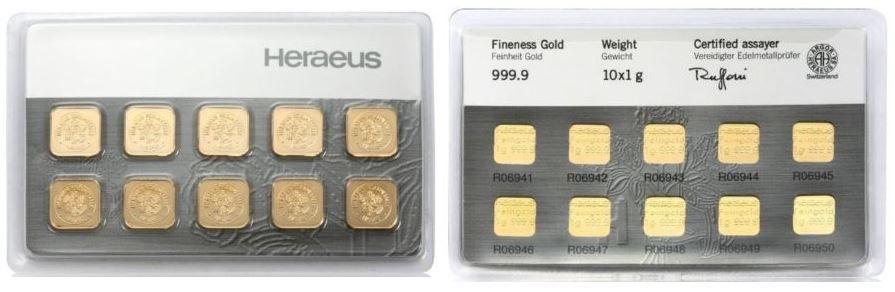 Heraeus 10 x 1g 999,9 Feingold für 369€