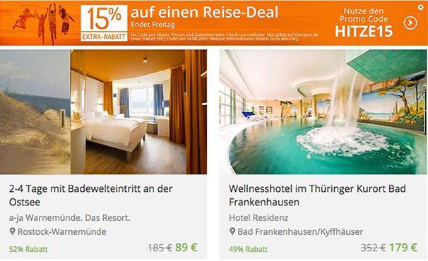 Groupon Reise Rabatt1 Groupon mit 15% Extra Rabatt auf alle Reise Gutscheine   Update!